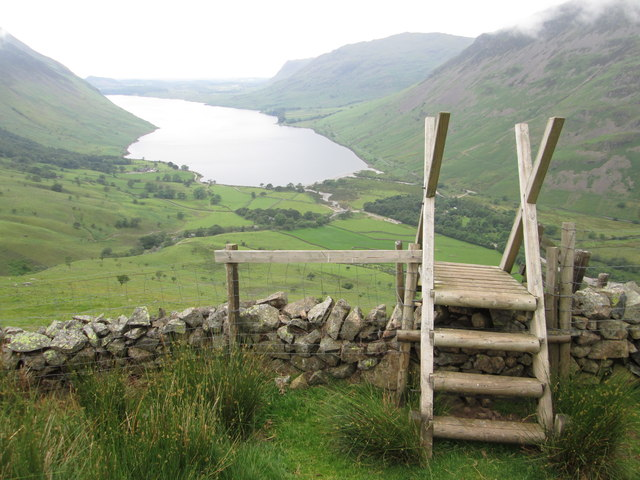 Stile over a dry stone wall on Lingmell