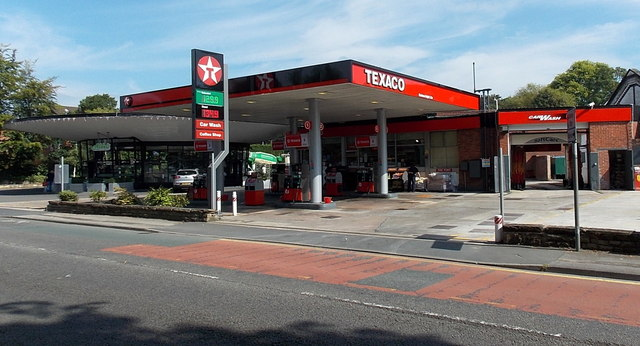 Texaco filling station and car wash in Alderley Edge