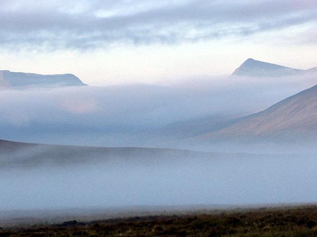Mist hangs above Ben Alder Forest