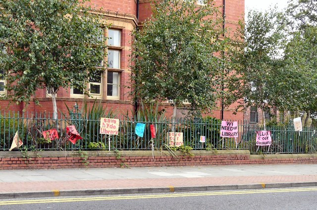 Placards outside Hyde Library