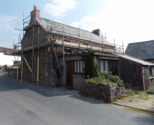 Rhossili Farmhouse under scaffolding