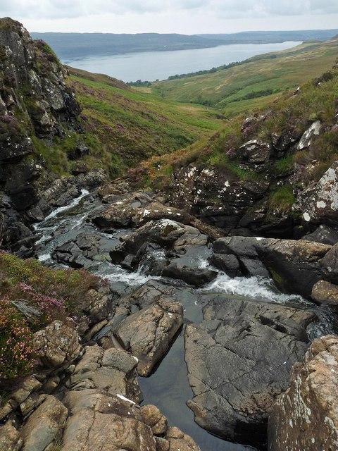 Waterfall on the Allt Ath an t-Seasgaich, Ardmeanach, Isle of Mull