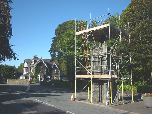 Refurbishment work, Baddeley Memorial clock tower, Windermere