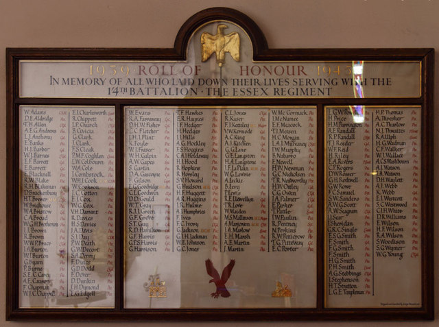 St Mary, High Street, Great Ilford - War Memorial WWII