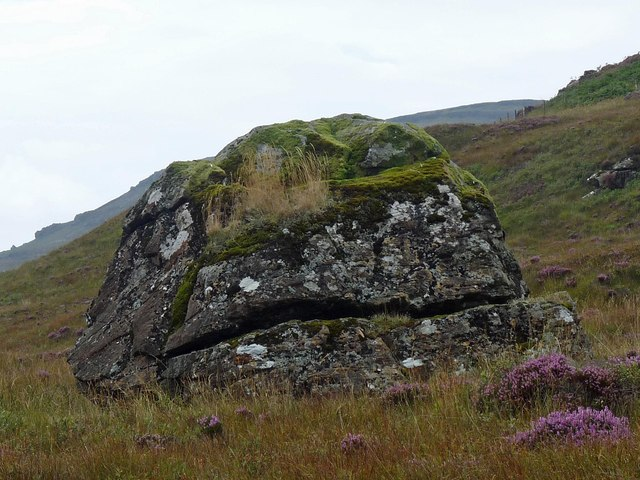 Boulder on moorland above Tooval, Ardmeanach, Isle of Mull