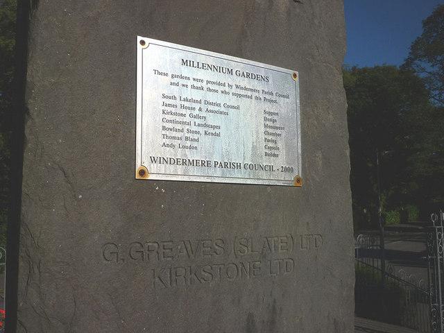 Plaque on monument, Millennium Gardens, Windermere