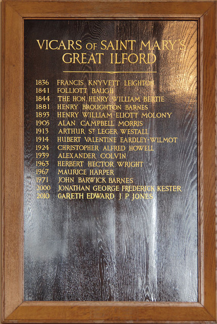 St Mary, High Street, Great Ilford - Vicars board
