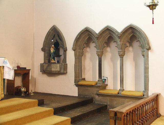 St Mary, High Street, Great Ilford - Piscina & sedilia
