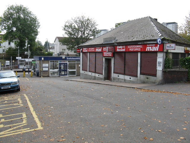 Scotstounhill railway station approach & post office