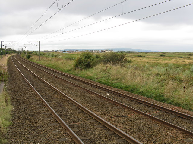 Railway heading south from Prestwick Airport