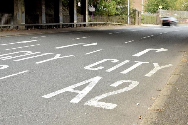 Road markings, Greencastle, Belfast (September 2014)