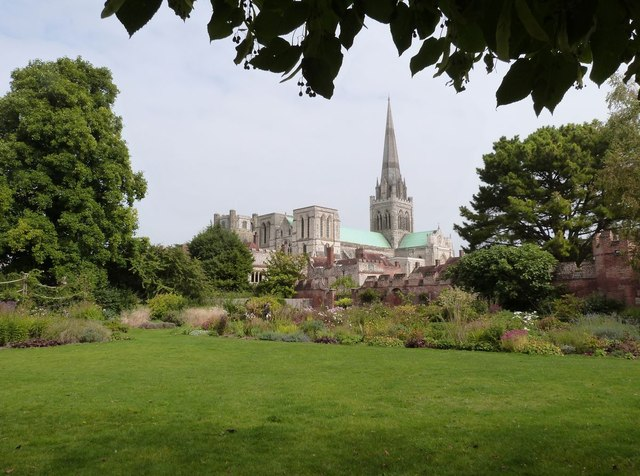 Chichester Cathedral from the Bishops Palace Gardens