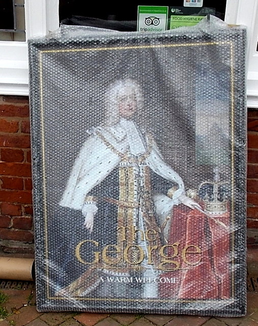 New pub name sign for The George, Oswestry