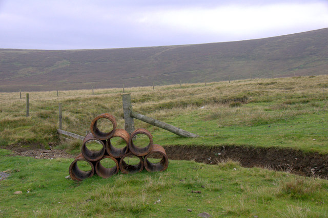 Pipes beside the road above Norwick