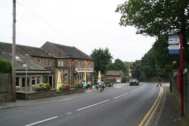 Bull's Head and the road through Blackmoorfoot