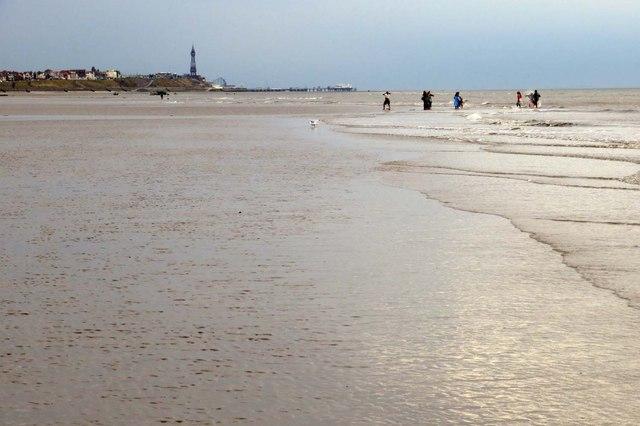 Cleveleys beach looking towards Blackpool