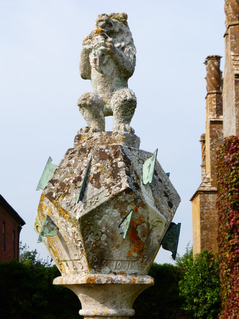 Multi-faceted sundial at Barrington Court