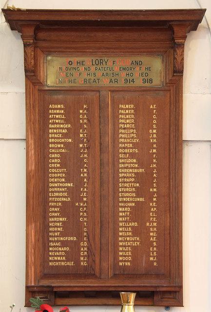 St Thomas, Old Charlton - War Memorial WWI