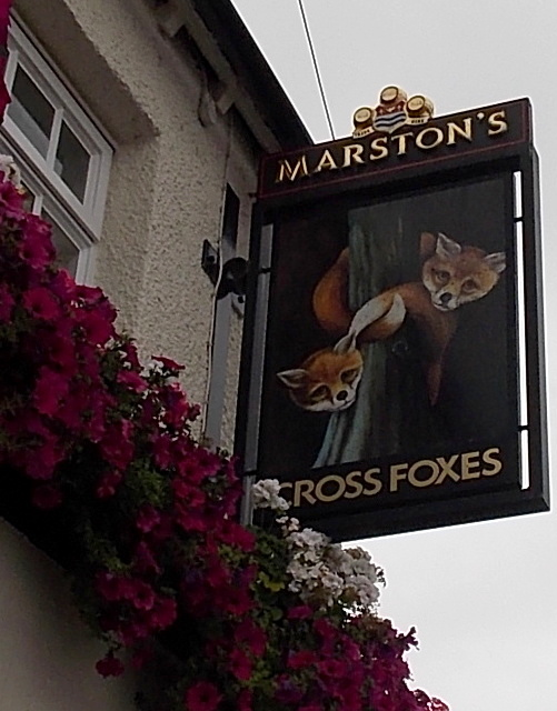Cross Foxes pub name sign, Gobowen