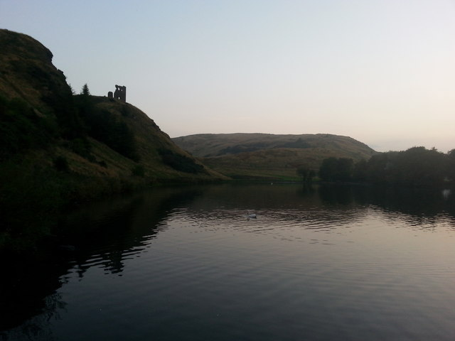 St. Margaret's Loch and St. Anthony's Chapel ruins in the fading evening light of early September