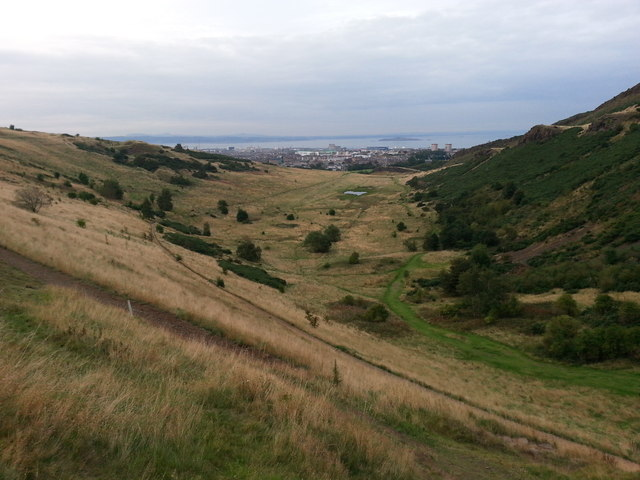 Looking towards Hunter's Bog from Salisbury Crags in Holyrood Park