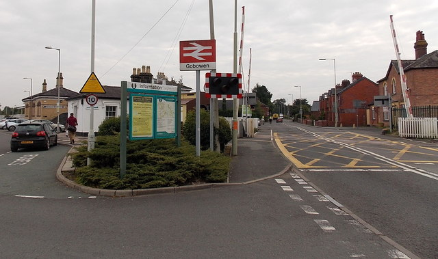 Gobowen railway station name sign