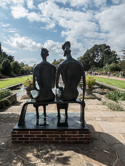 Statues by Ornamental Lake, Royal Horticultural Society Garden, Wisley, Surrey