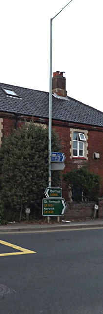 Roadsigns on the A1066 Stanley Road