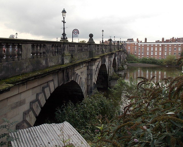 North side of English Bridge, Shrewsbury