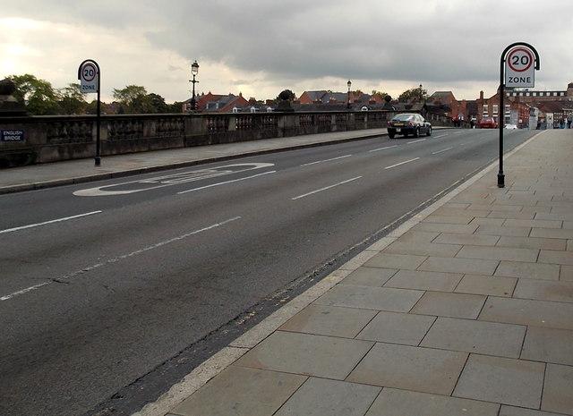 20 zone, English Bridge, Shrewsbury