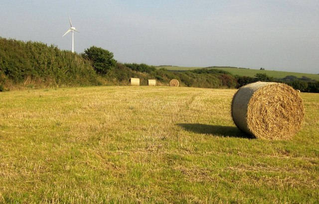 Bales and turbine near Parker's Cross