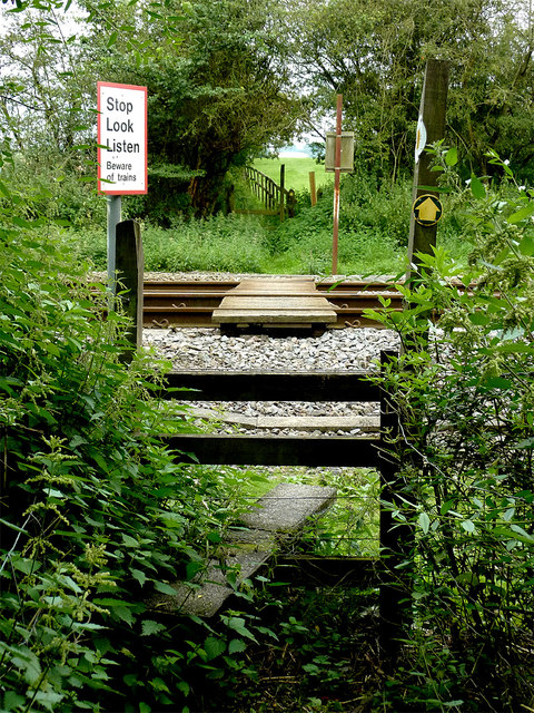 Footpath crossing the railway near Wilmcote, Warwickshire