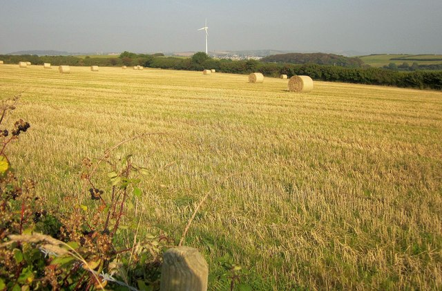Bales and turbine near Parker's Cross