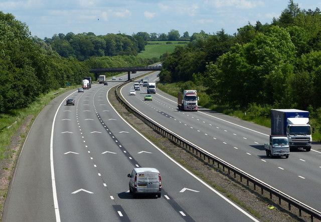 The M6 motorway heading east