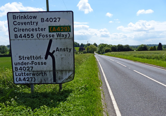 Sign along the B4455 Fosse Way