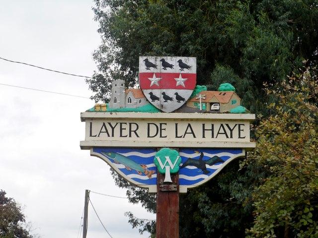 Layer de la Haye, village sign (detail)