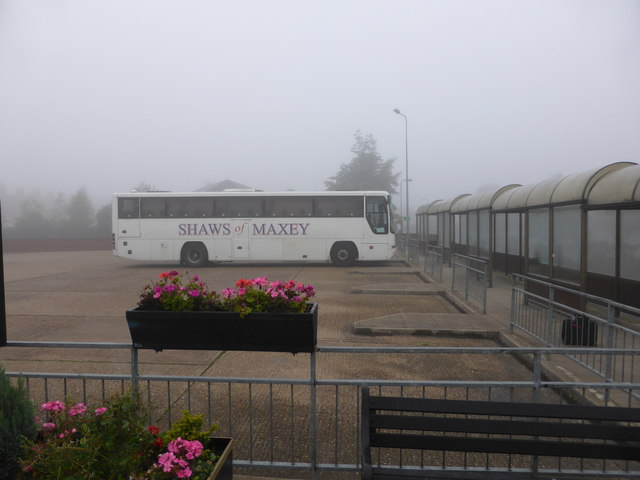 Bourne bus station in the Fog