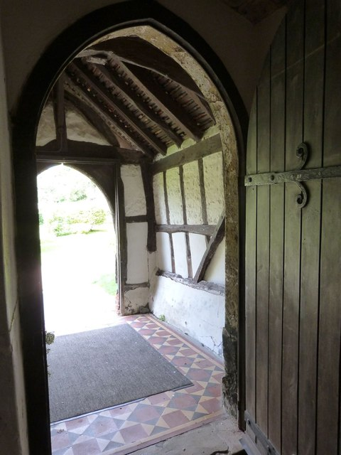 Looking out into the timber framed porch, Yapton Parish Church