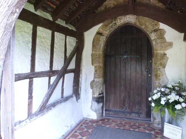 Timber framed porch and Norman doorway, Yapton parish church
