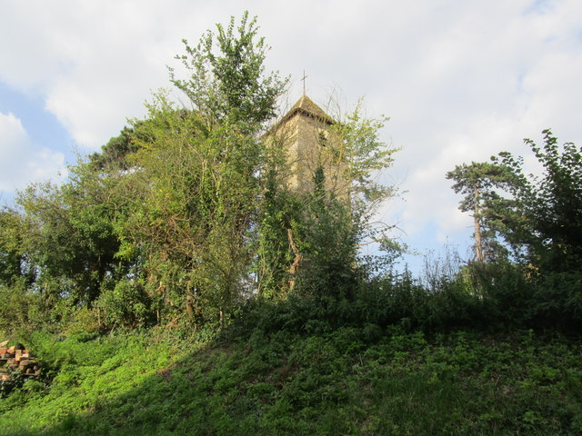 The tower of the former St. Oswald's church, Lassington