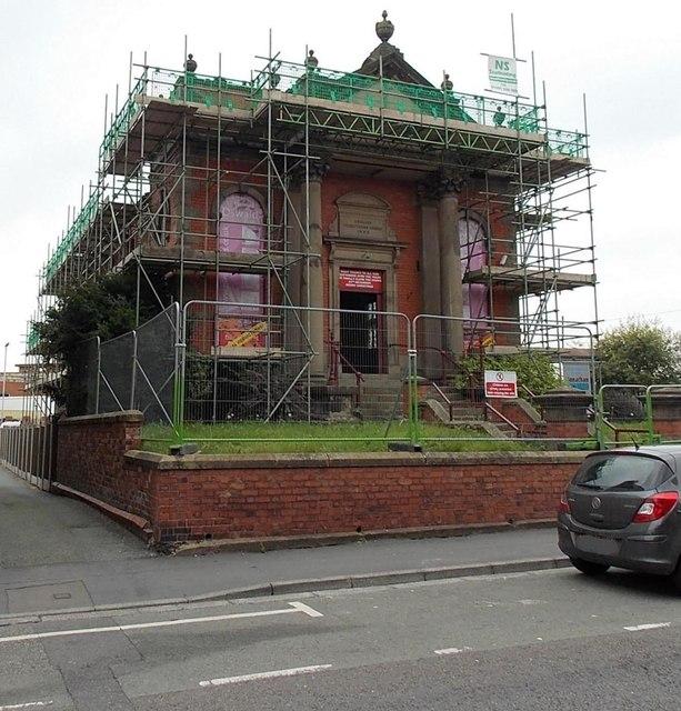 Fenced-off former English Presbyterian Church in Oswald Road, Oswestry