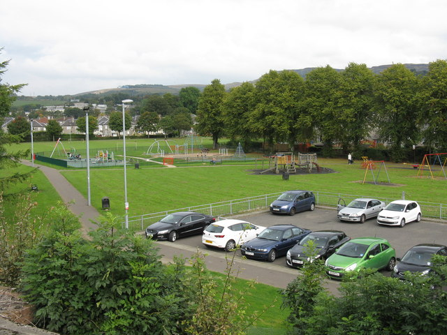 Car park & children's playground north of Dumbarton East station