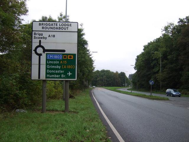 A18 approaching Briggate Lodge Roundabout