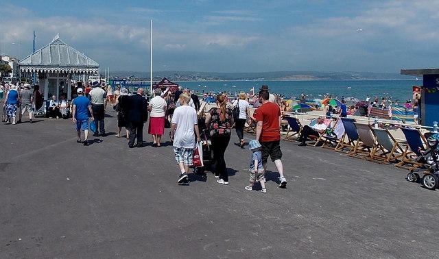 Walking along The Esplanade in Weymouth