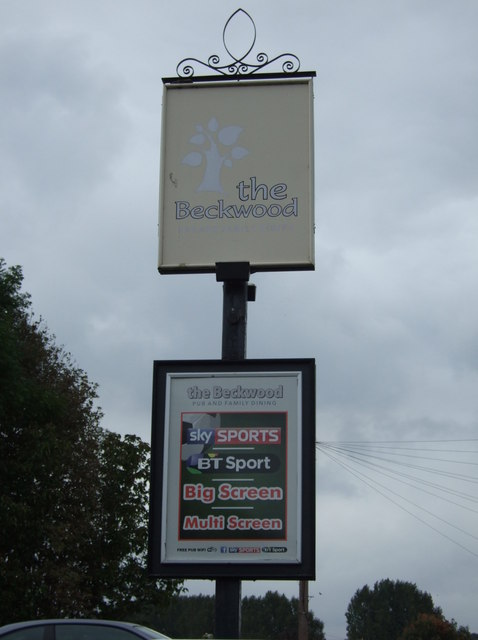 Sign for the Beckwood pub