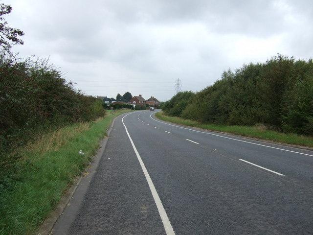 Sweeping bend in Burringham Road (B1450)