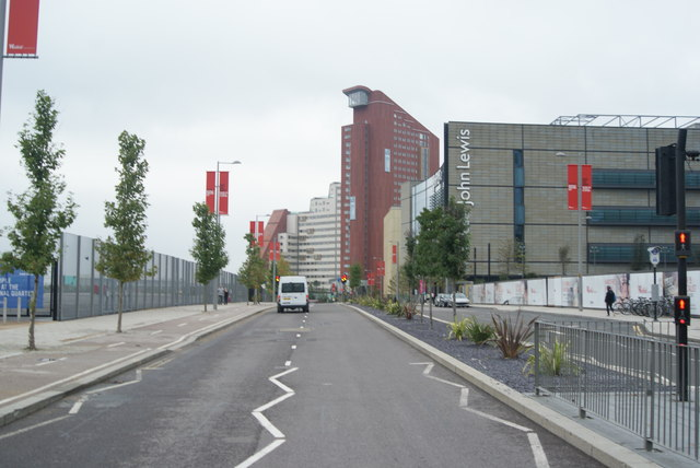 View along Westfield Way from the pelican crossing