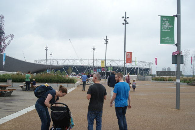 View of the OIympic Stadium from the walkway heading from Westfield Way to the Olympic Park