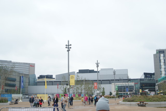 View of Westfield Stratford City and Aspers Casino from the walkway leading to the Olympic Park