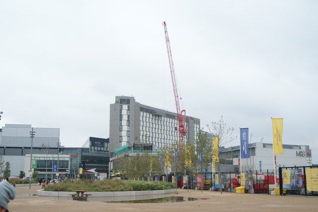 View of the Premier Inn from the walkway leading to the Olympic Park